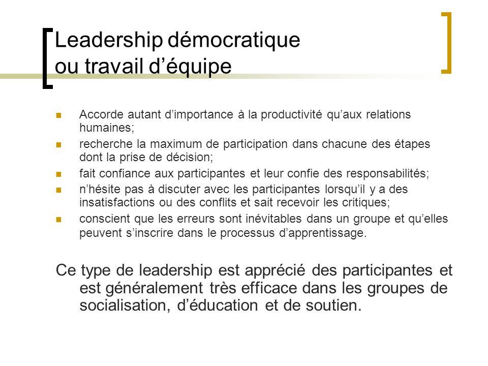 Leadership démocratique ou travail déquipe Accorde autant dimportance à la productivité quaux relations humaines; recherche la maximum de participatio