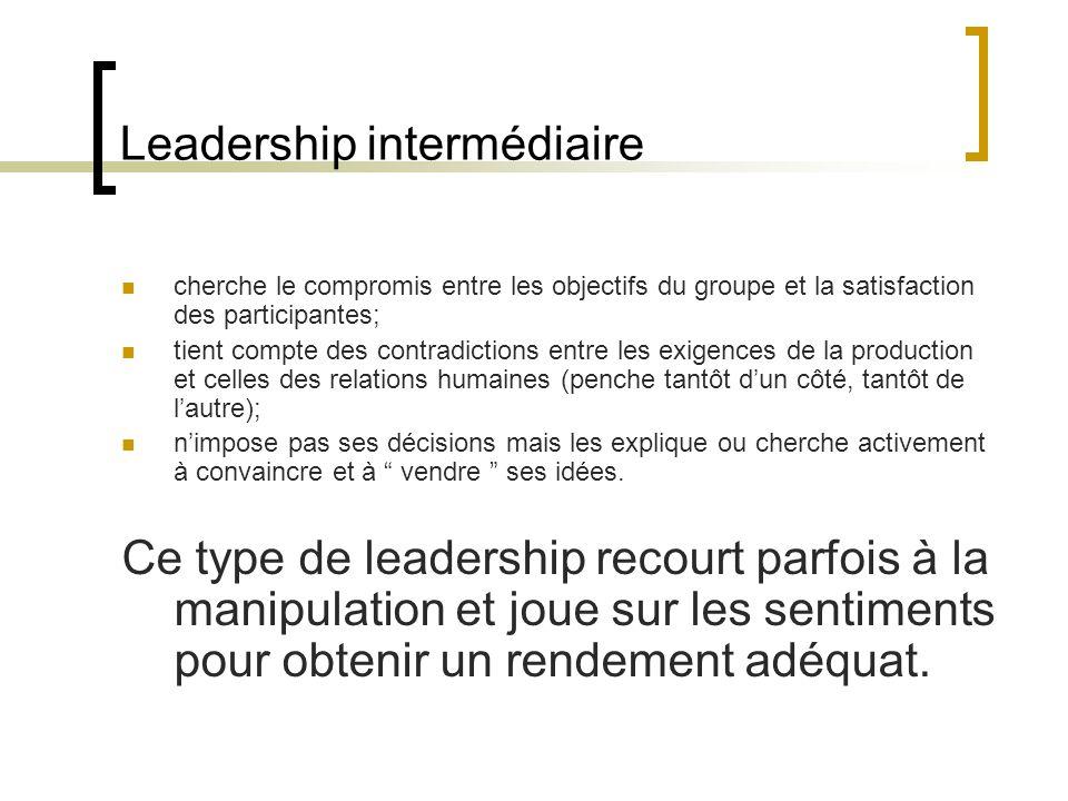 Leadership intermédiaire cherche le compromis entre les objectifs du groupe et la satisfaction des participantes; tient compte des contradictions entr