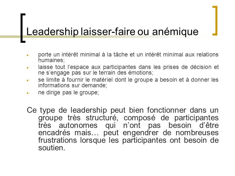 Leadership laisser-faire ou anémique porte un intérêt minimal à la tâche et un intérêt minimal aux relations humaines; laisse tout lespace aux partici