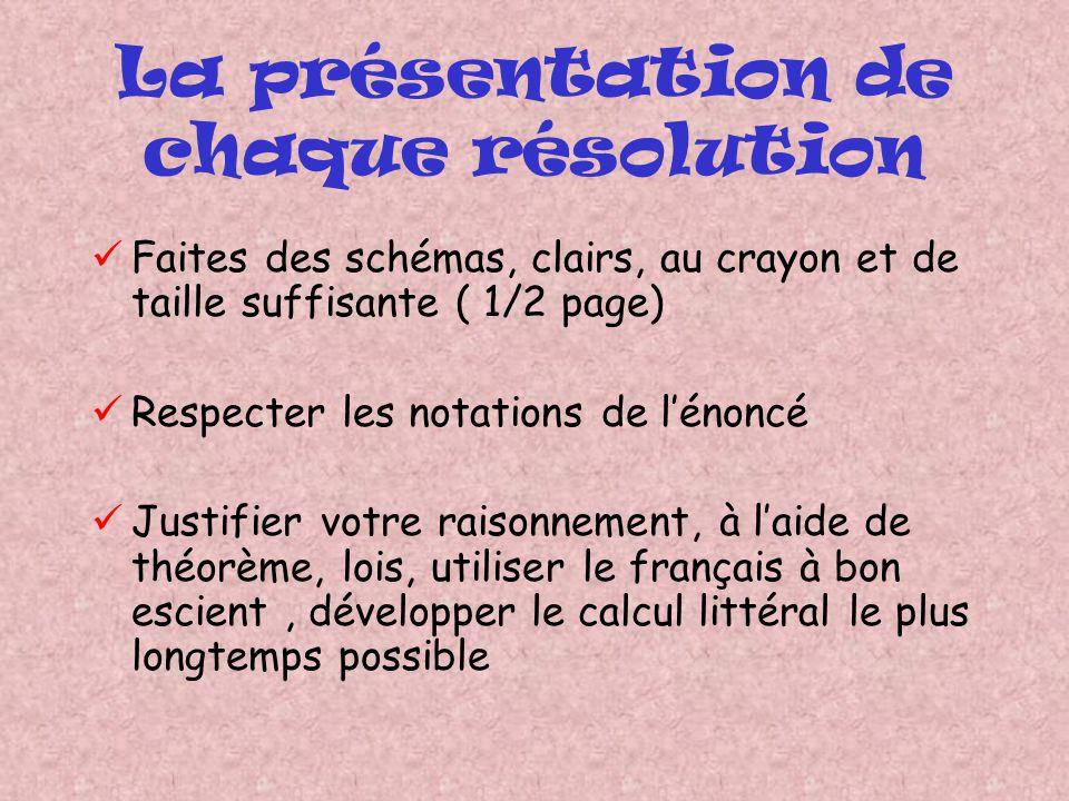 La présentation de chaque résolution Faites des schémas, clairs, au crayon et de taille suffisante ( 1/2 page) Respecter les notations de lénoncé Just