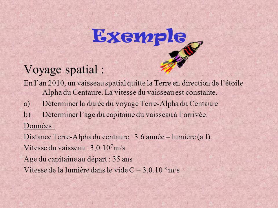 Exemple Voyage spatial : En lan 2010, un vaisseau spatial quitte la Terre en direction de létoile Alpha du Centaure. La vitesse du vaisseau est consta