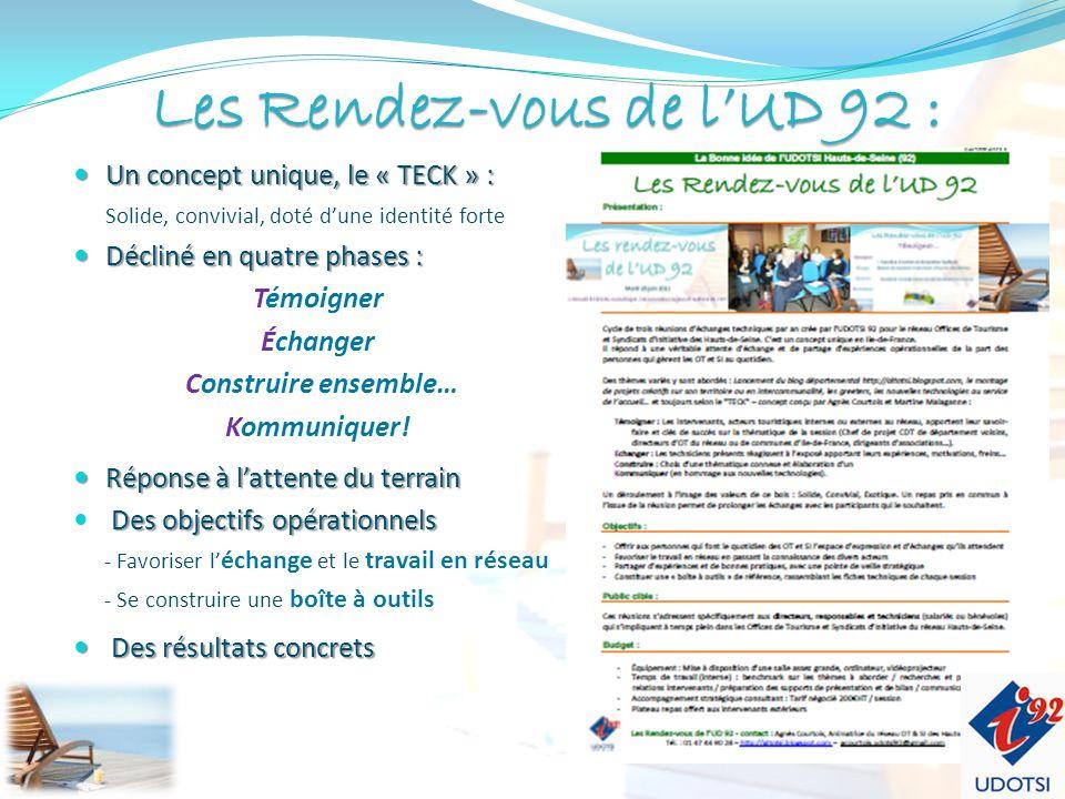 LesRendez-vousde lUD 92 : Les Rendez-vous de lUD 92 : Un concept unique, le « TECK » : Un concept unique, le « TECK » : Solide, convivial, doté dune identité forte Décliné en quatre phases : Décliné en quatre phases : Témoigner Échanger Construire ensemble… Kommuniquer.