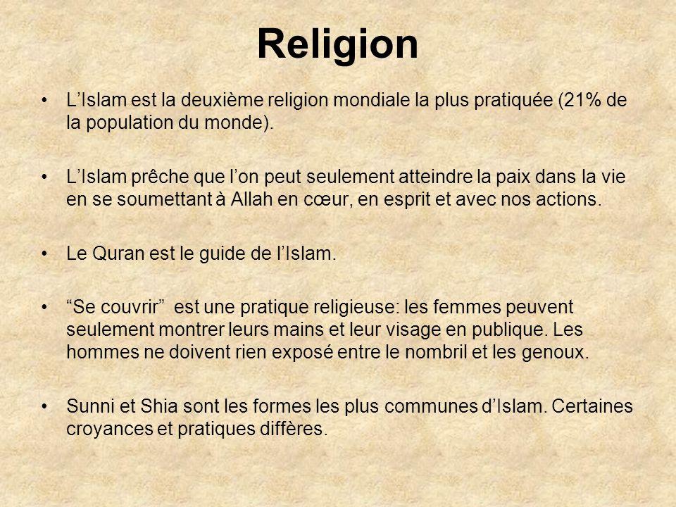 Religion LIslam est la deuxième religion mondiale la plus pratiquée (21% de la population du monde).
