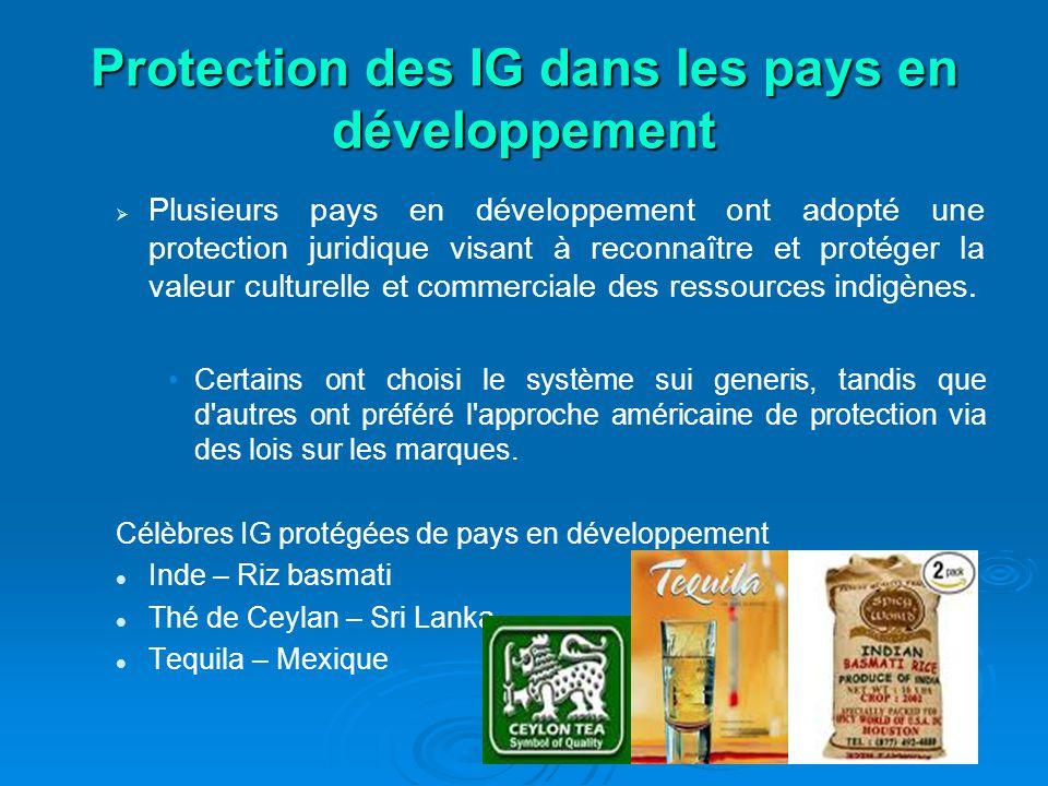 Protection des IG dans les pays en développement Plusieurs pays en développement ont adopté une protection juridique visant à reconnaître et protéger la valeur culturelle et commerciale des ressources indigènes.