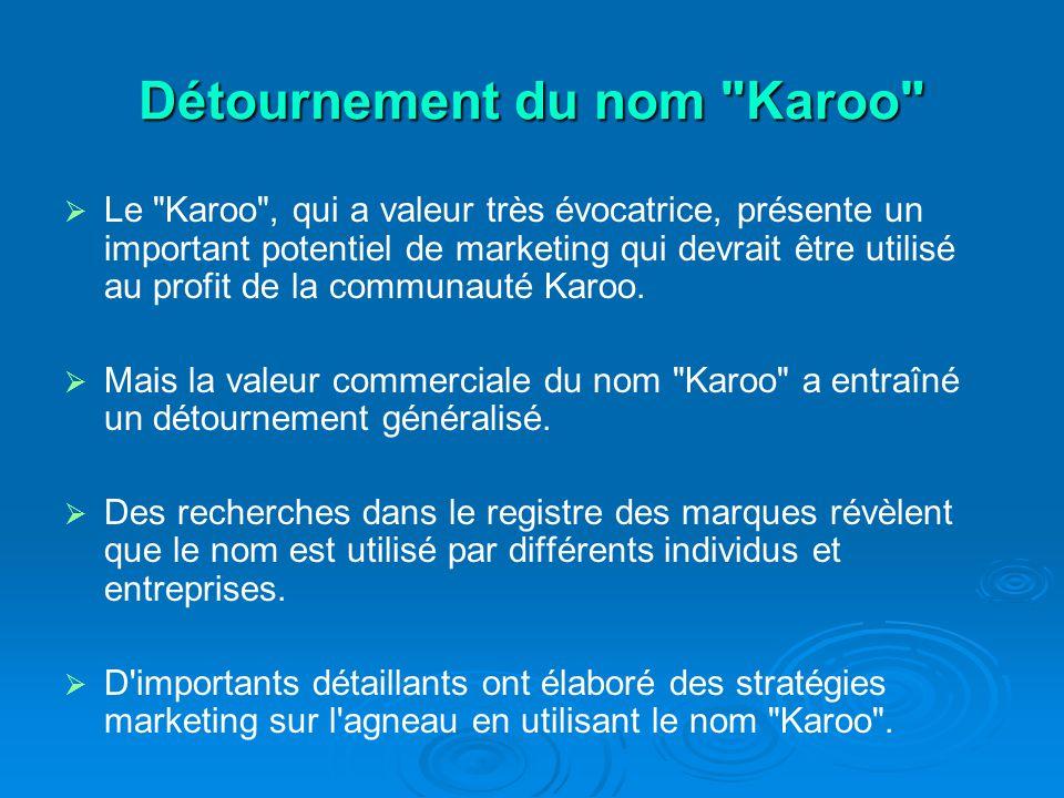 Détournement du nom Karoo Le Karoo , qui a valeur très évocatrice, présente un important potentiel de marketing qui devrait être utilisé au profit de la communauté Karoo.