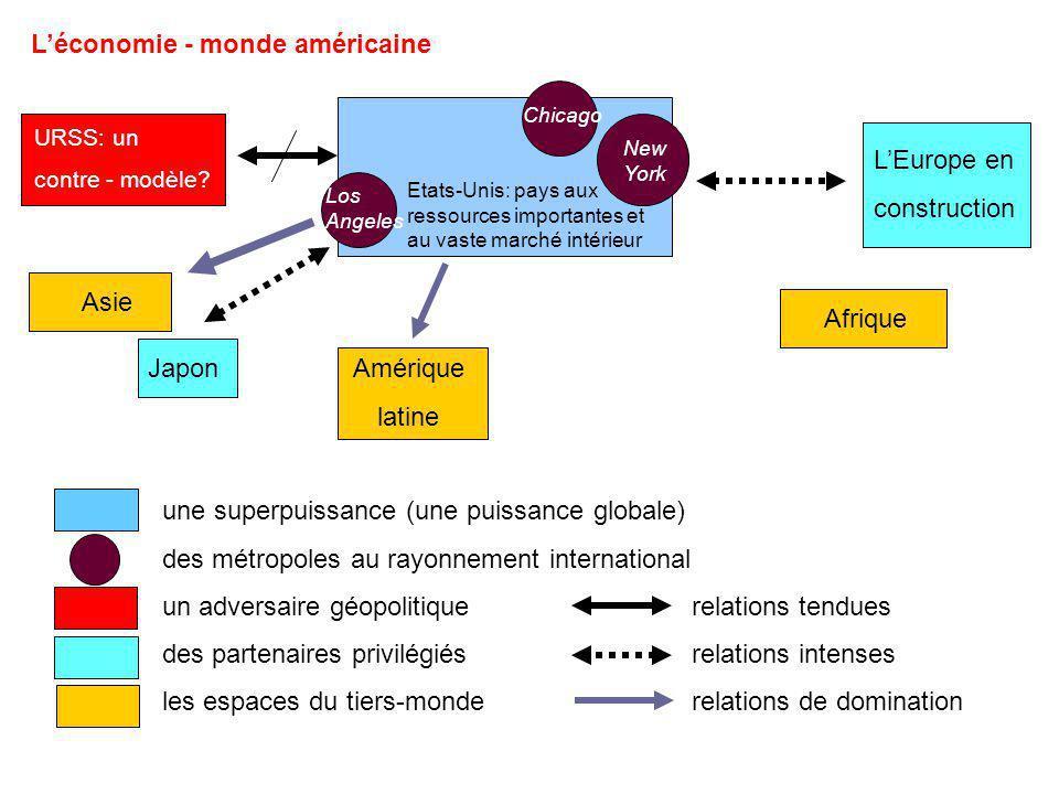 Léconomie - monde américaine Etats-Unis: pays aux ressources importantes et au vaste marché intérieur URSS: un contre - modèle? Afrique Asie Amérique