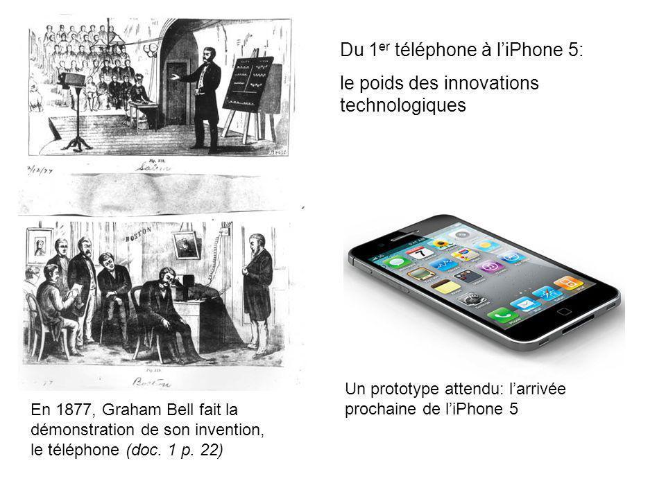 En 1877, Graham Bell fait la démonstration de son invention, le téléphone (doc. 1 p. 22) Du 1 er téléphone à liPhone 5: le poids des innovations techn