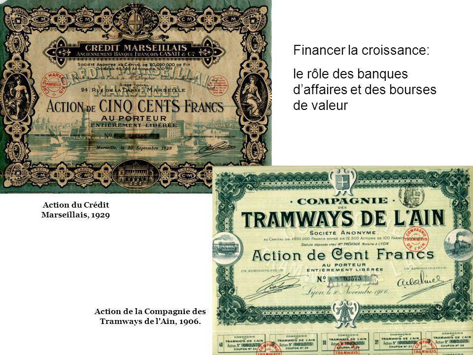 Action de la Compagnie des Tramways de l'Ain, 1906. Action du Crédit Marseillais, 1929 Financer la croissance: le rôle des banques daffaires et des bo