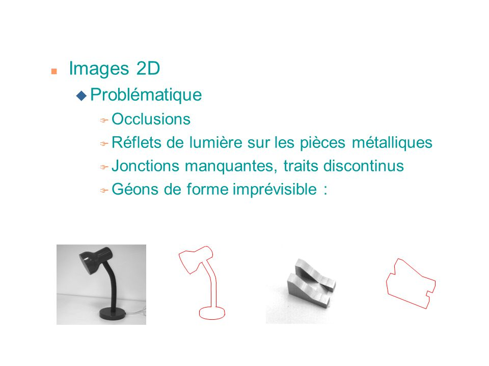 n Images 2D u Problématique F Occlusions F Réflets de lumière sur les pièces métalliques F Jonctions manquantes, traits discontinus F Géons de forme i