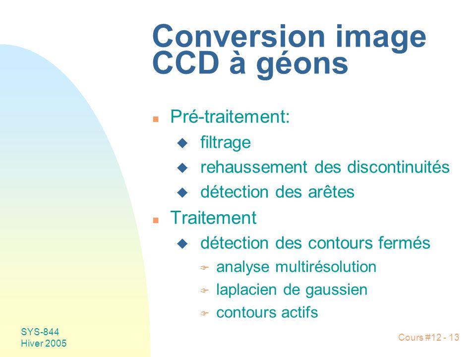 Cours #12 - 13 SYS-844 Hiver 2005 Conversion image CCD à géons n Pré-traitement: u filtrage u rehaussement des discontinuités u détection des arêtes n