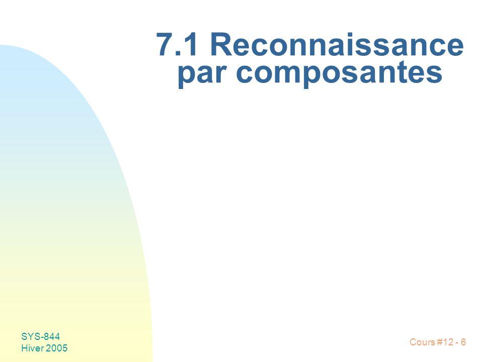 Cours #12 - 6 SYS-844 Hiver 2005 7.1 Reconnaissance par composantes