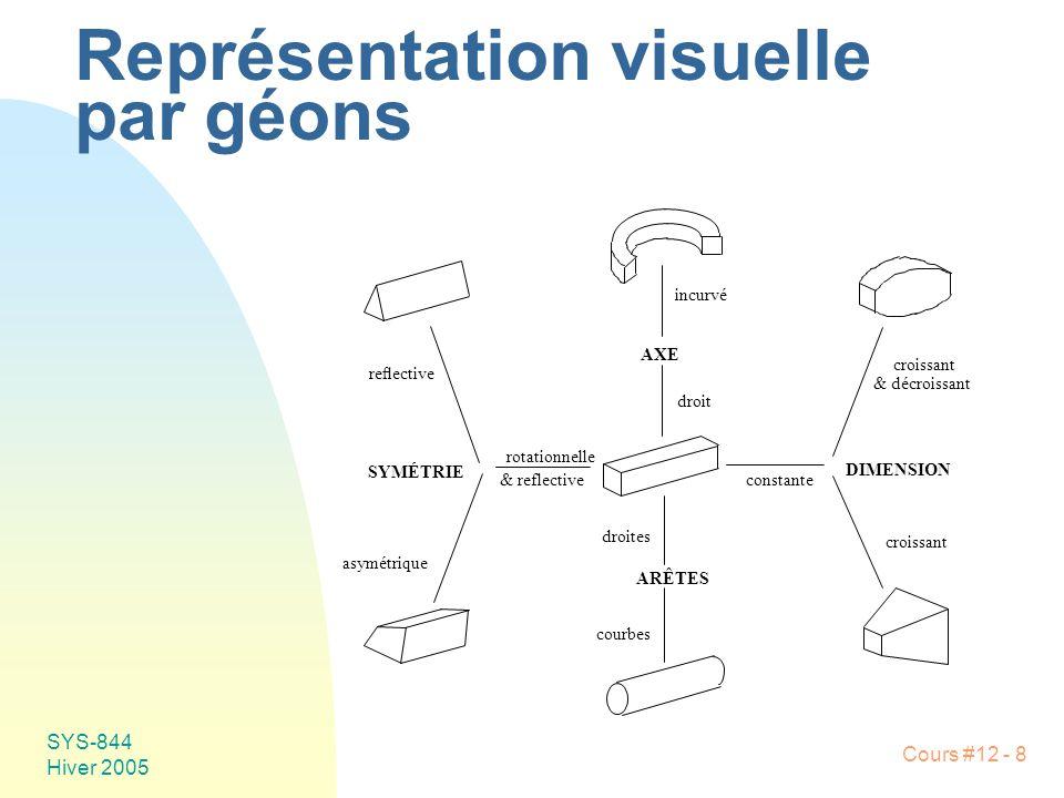 Cours #12 - 8 SYS-844 Hiver 2005 Représentation visuelle par géons reective SYMÉTRIE asymétrique rotationnelle & reflective ARÊTES droites courbes DIM