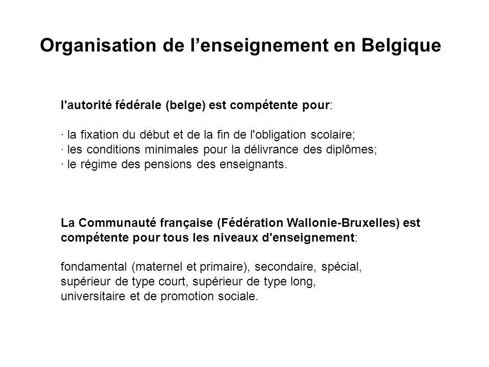 Organisation de lenseignement en Belgique l autorité fédérale (belge) est compétente pour: · la fixation du début et de la fin de l obligation scolaire; · les conditions minimales pour la délivrance des diplômes; · le régime des pensions des enseignants.