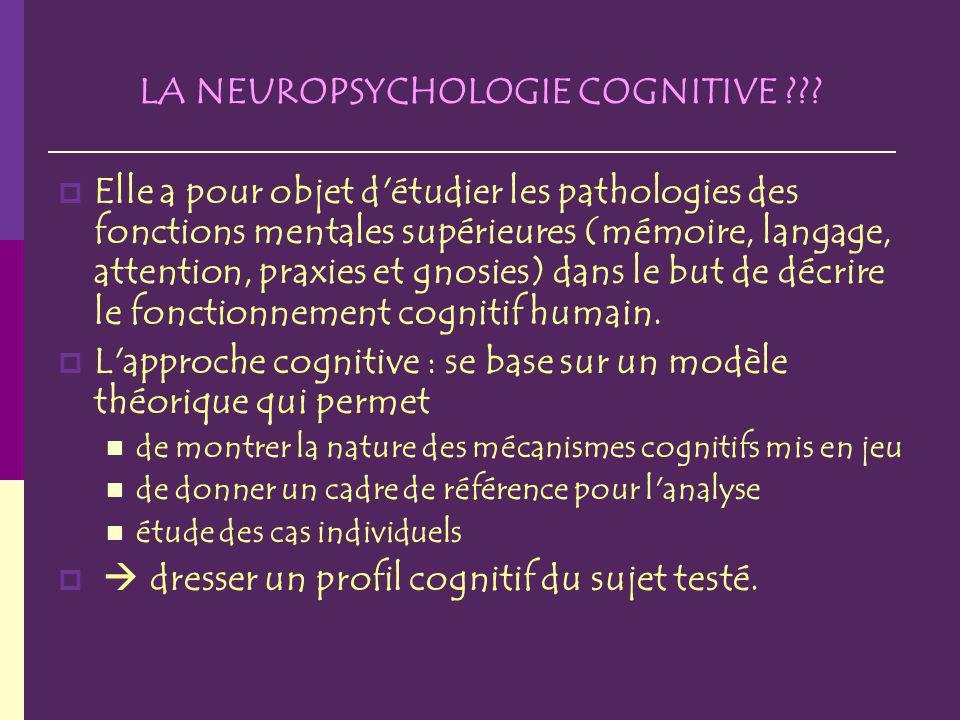 LA NEUROPSYCHOLOGIE COGNITIVE ??? Elle a pour objet d'étudier les pathologies des fonctions mentales supérieures (mémoire, langage, attention, praxies