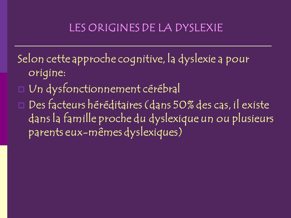 LES ORIGINES DE LA DYSLEXIE Selon cette approche cognitive, la dyslexie a pour origine: Un dysfonctionnement cérébral Des facteurs héréditaires (dans 50% des cas, il existe dans la famille proche du dyslexique un ou plusieurs parents eux-mêmes dyslexiques)