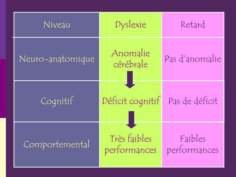 NiveauDyslexieRetard Neuro-anatomique Anomalie cérébrale Pas danomalie CognitifDéficit cognitifPas de déficit Comportemental Très faibles performances Faibles performances