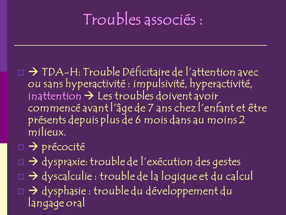 Troubles associés : TDA-H: Trouble Déficitaire de lattention avec ou sans hyperactivité : impulsivité, hyperactivité, inattention Les troubles doivent