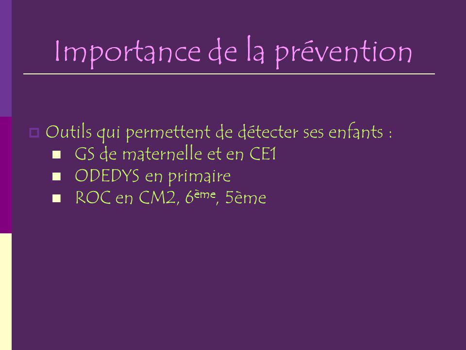 Importance de la prévention Outils qui permettent de détecter ses enfants : GS de maternelle et en CE1 ODEDYS en primaire ROC en CM2, 6 ème, 5ème