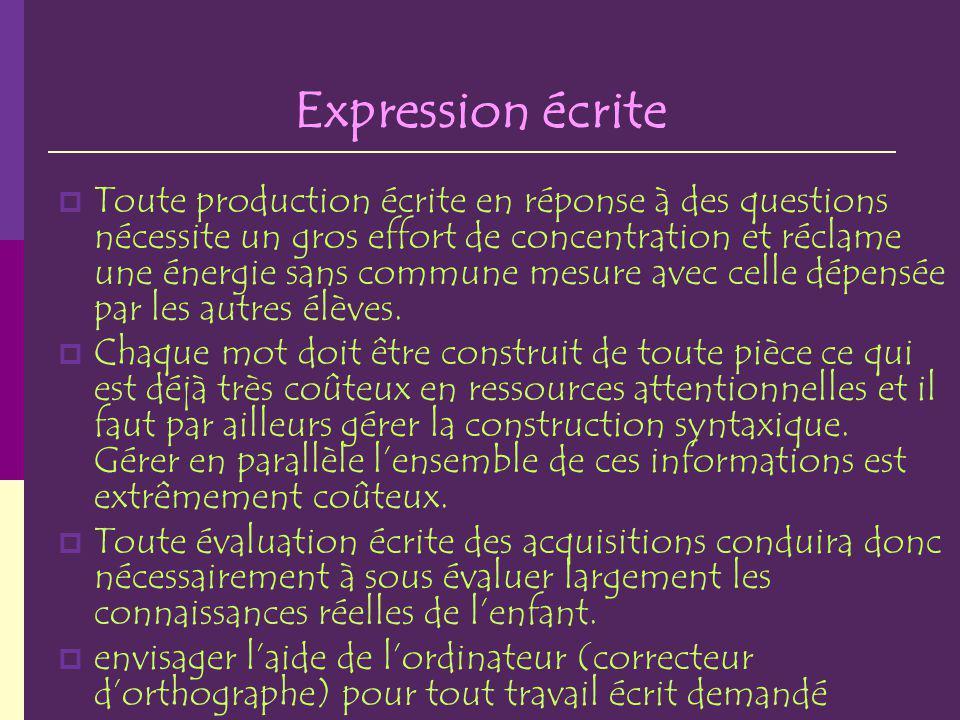 Expression écrite Toute production écrite en réponse à des questions nécessite un gros effort de concentration et réclame une énergie sans commune mes
