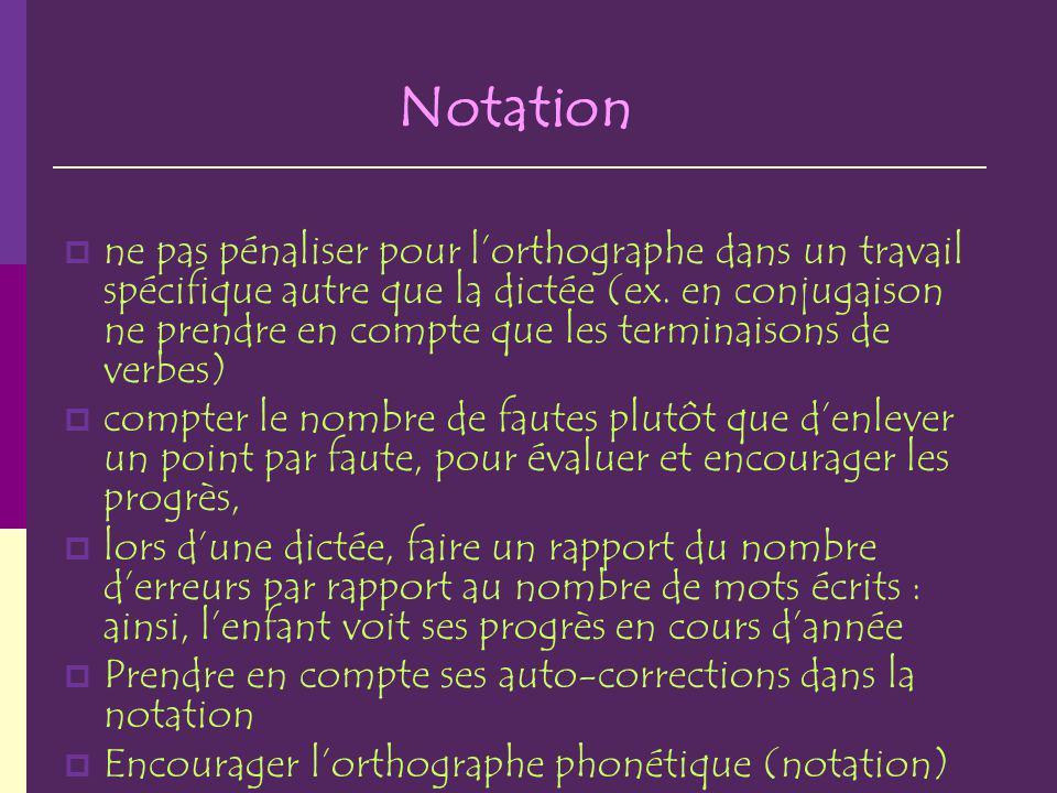 Notation ne pas pénaliser pour lorthographe dans un travail spécifique autre que la dictée (ex.