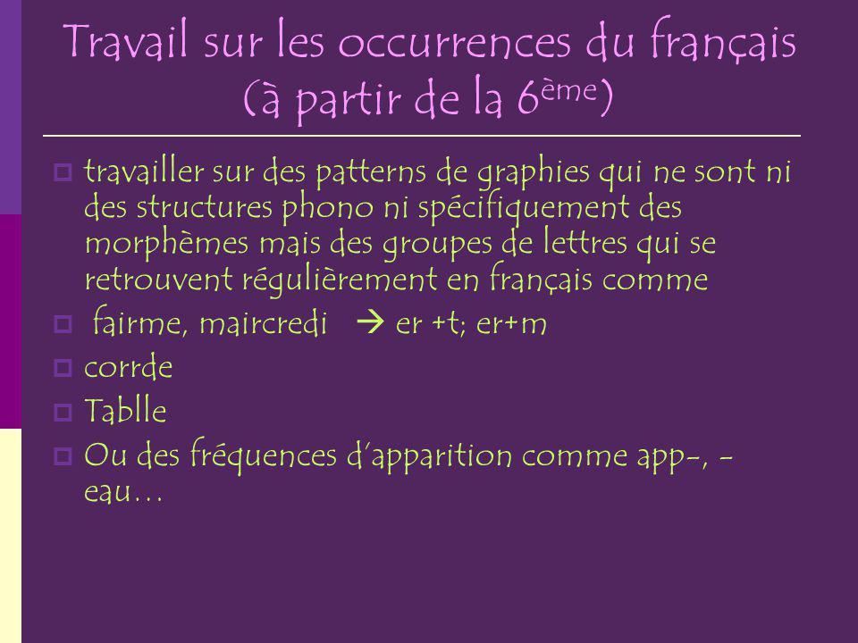 Travail sur les occurrences du français (à partir de la 6 ème ) travailler sur des patterns de graphies qui ne sont ni des structures phono ni spécifi
