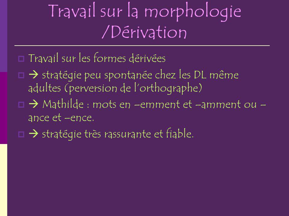 Travail sur la morphologie /Dérivation Travail sur les formes dérivées stratégie peu spontanée chez les DL même adultes (perversion de lorthographe) M