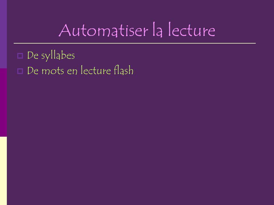 Automatiser la lecture De syllabes De mots en lecture flash