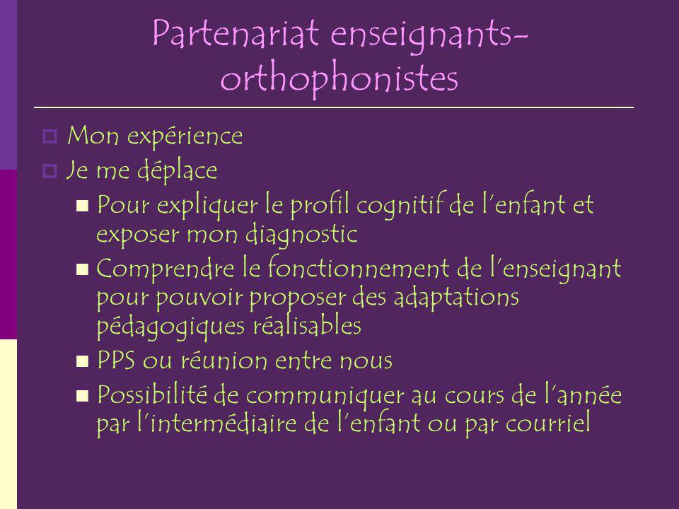 Partenariat enseignants- orthophonistes Mon expérience Je me déplace Pour expliquer le profil cognitif de lenfant et exposer mon diagnostic Comprendre