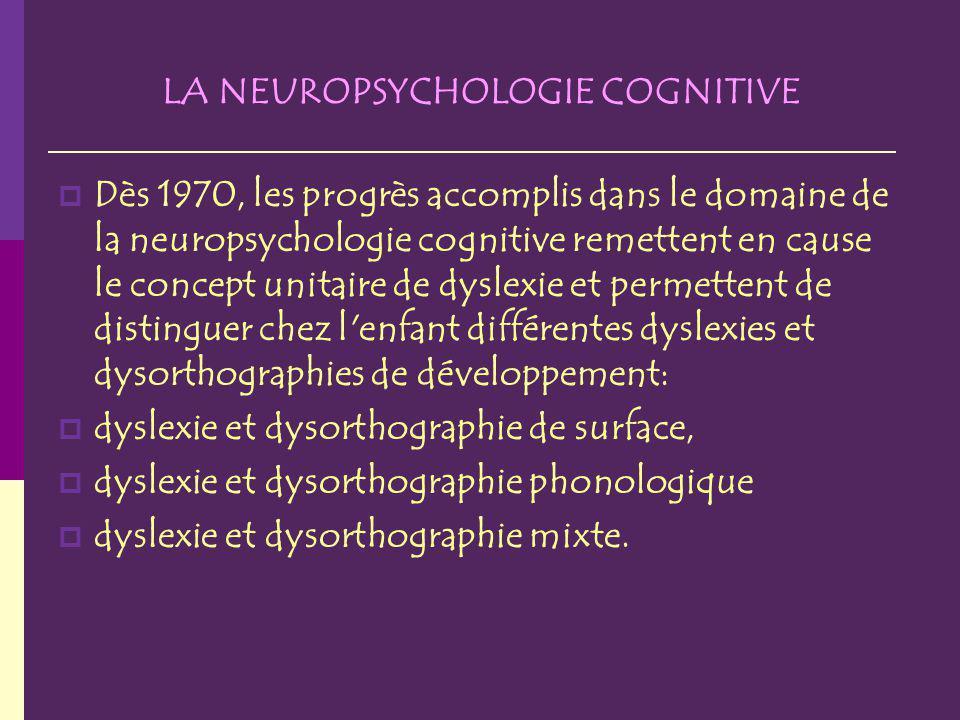 LA NEUROPSYCHOLOGIE COGNITIVE Dès 1970, les progrès accomplis dans le domaine de la neuropsychologie cognitive remettent en cause le concept unitaire de dyslexie et permettent de distinguer chez l enfant différentes dyslexies et dysorthographies de développement: dyslexie et dysorthographie de surface, dyslexie et dysorthographie phonologique dyslexie et dysorthographie mixte.
