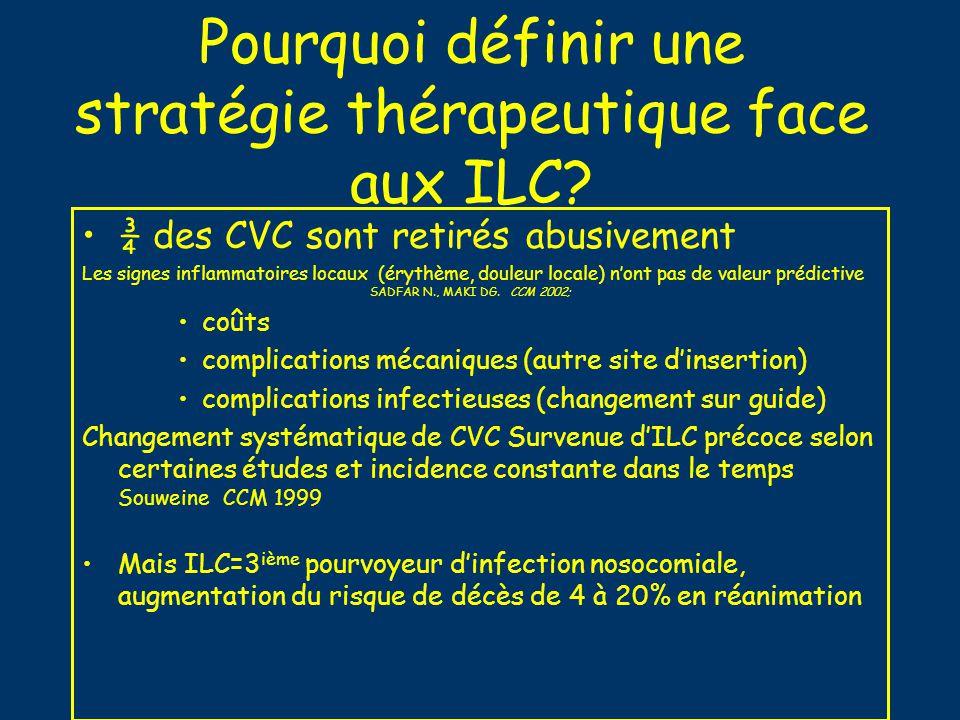 Pourquoi définir une stratégie thérapeutique face aux ILC? ¾ des CVC sont retirés abusivement Les signes inflammatoires locaux (érythème, douleur loca