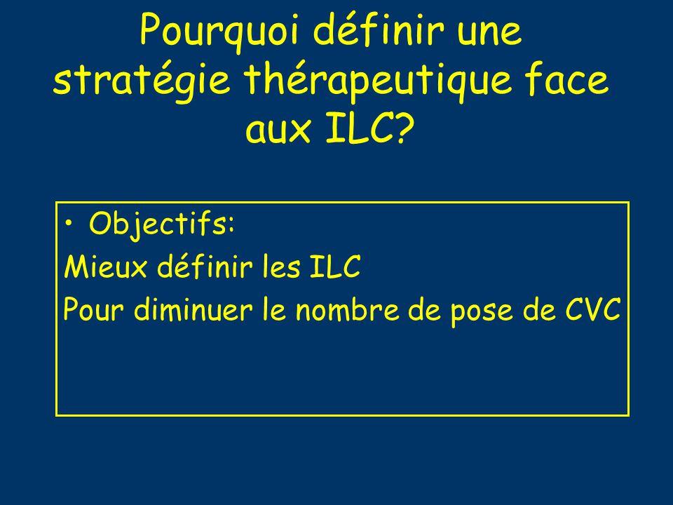 Pourquoi définir une stratégie thérapeutique face aux ILC? Objectifs: Mieux définir les ILC Pour diminuer le nombre de pose de CVC