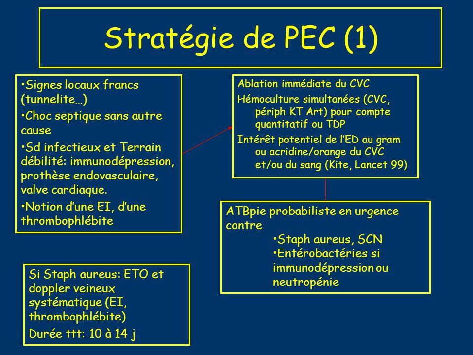 Stratégie de PEC (1) Ablation immédiate du CVC Hémoculture simultanées (CVC, périph KT Art) pour compte quantitatif ou TDP Intérêt potentiel de lED au