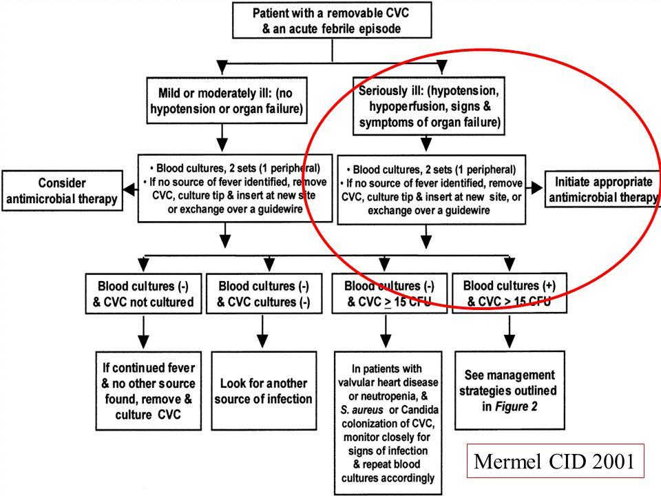 Stratégie de PEC (2) Sd infectieux sans étiologie, +/- signes locaux discrets Changement de CVC sur guide Culture du CVC ablation CVC ATBpie si bactériémie confirmée Négative: CVC laissé en place CVC enlevé