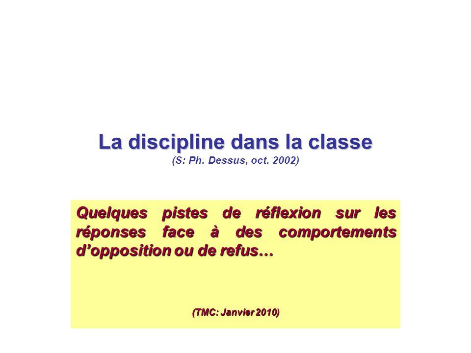 La discipline dans la classe La discipline dans la classe (S: Ph. Dessus, oct. 2002) Quelques pistes de réflexion sur les réponses face à des comporte