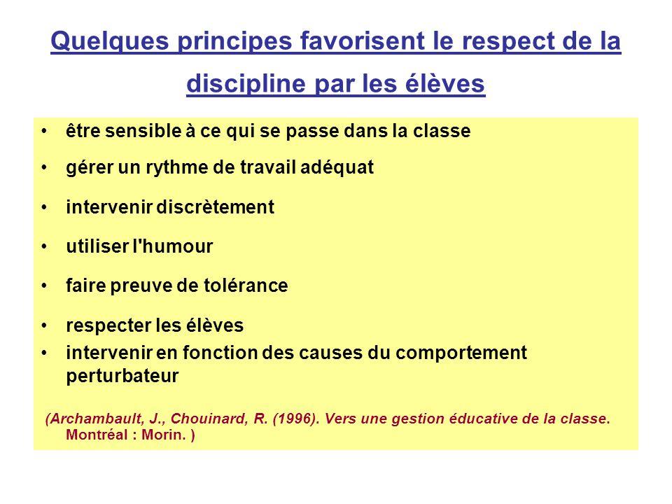 Quelques principes favorisent le respect de la discipline par les élèves être sensible à ce qui se passe dans la classe gérer un rythme de travail adé