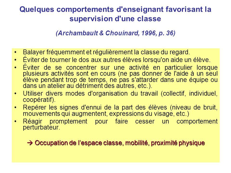 Quelques comportements d'enseignant favorisant la supervision d'une classe (Archambault & Chouinard, 1996, p. 36) Balayer fréquemment et régulièrement