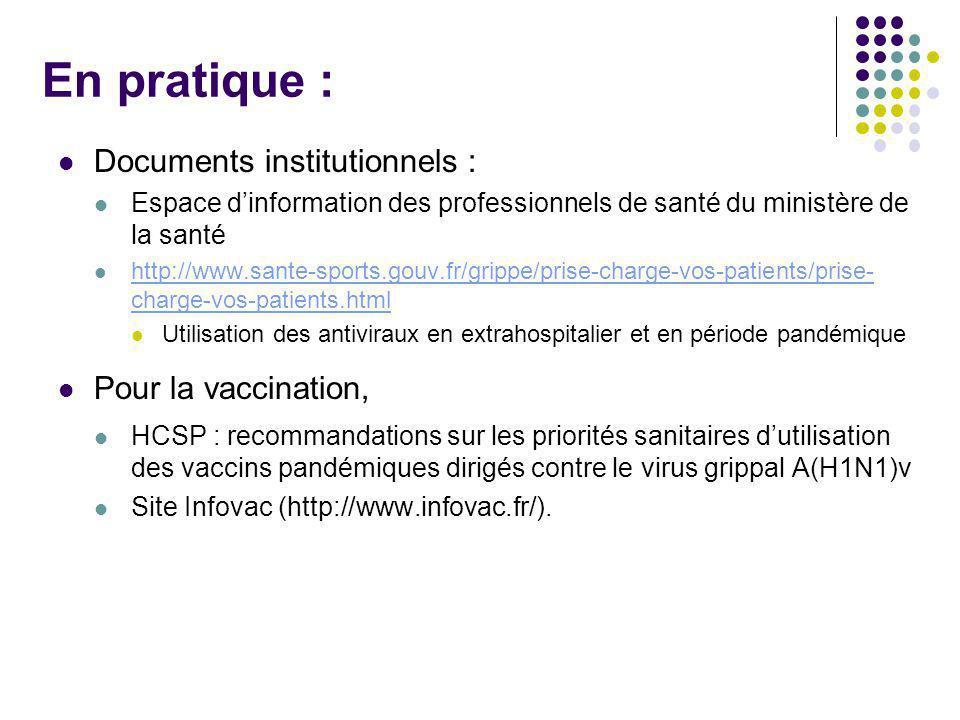 En pratique : Documents institutionnels : Espace dinformation des professionnels de santé du ministère de la santé http://www.sante-sports.gouv.fr/gri