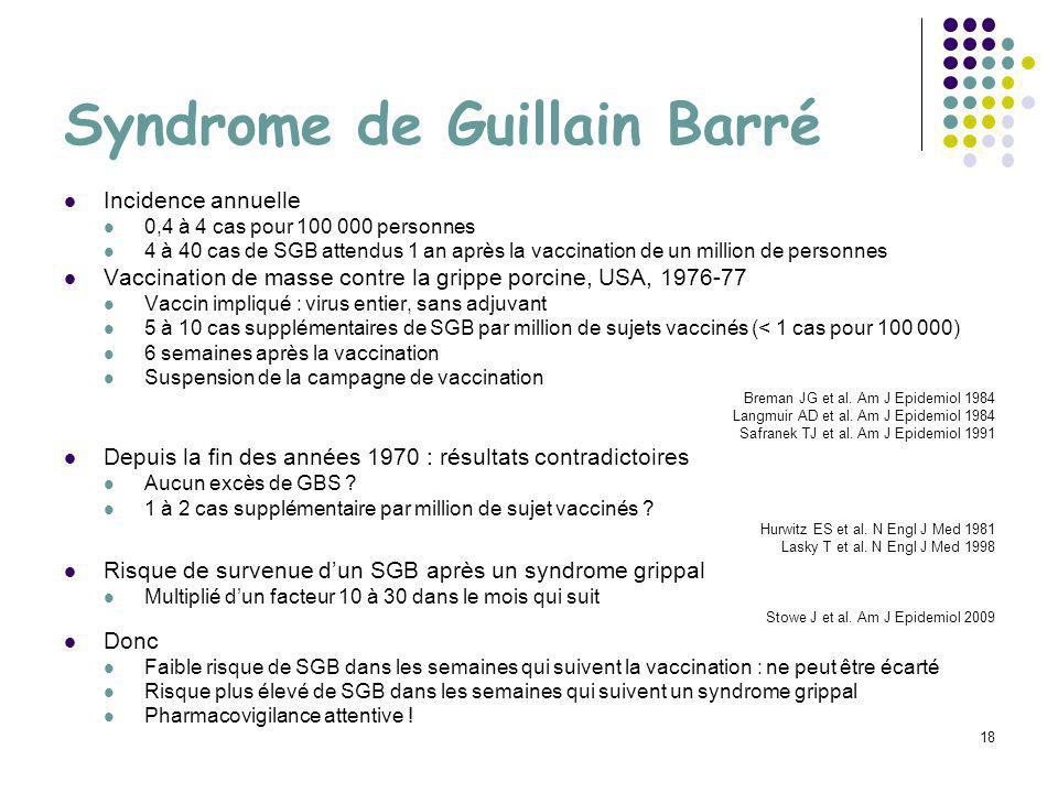 18 Syndrome de Guillain Barré Incidence annuelle 0,4 à 4 cas pour 100 000 personnes 4 à 40 cas de SGB attendus 1 an après la vaccination de un million