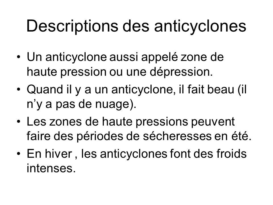Descriptions des anticyclones Un anticyclone aussi appelé zone de haute pression ou une dépression. Quand il y a un anticyclone, il fait beau (il ny a