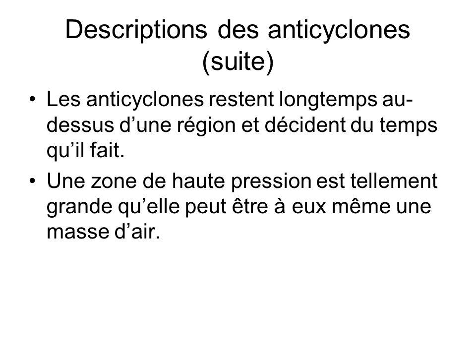 Descriptions des anticyclones (suite) Les anticyclones restent longtemps au- dessus dune région et décident du temps quil fait. Une zone de haute pres