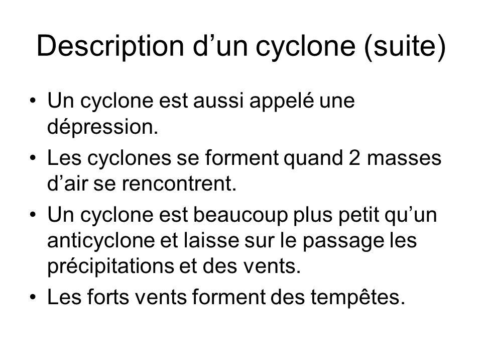 Description dun cyclone (suite) Un cyclone est aussi appelé une dépression. Les cyclones se forment quand 2 masses dair se rencontrent. Un cyclone est