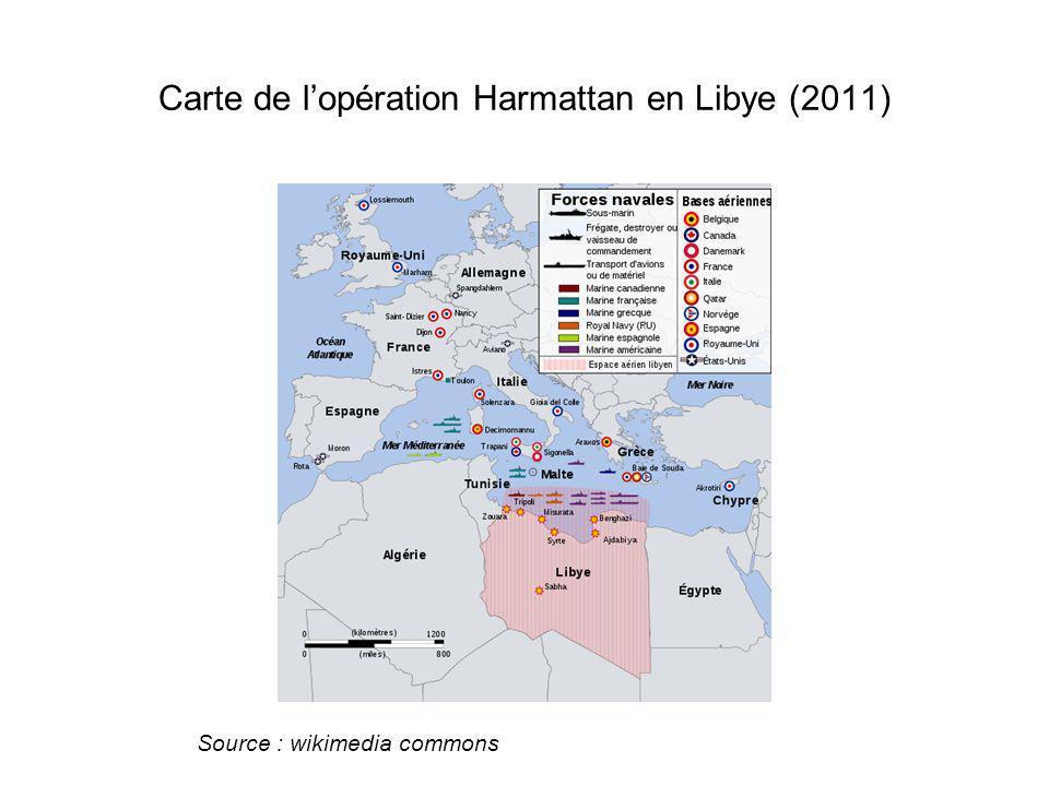 Carte de lopération Harmattan en Libye (2011) Source : wikimedia commons