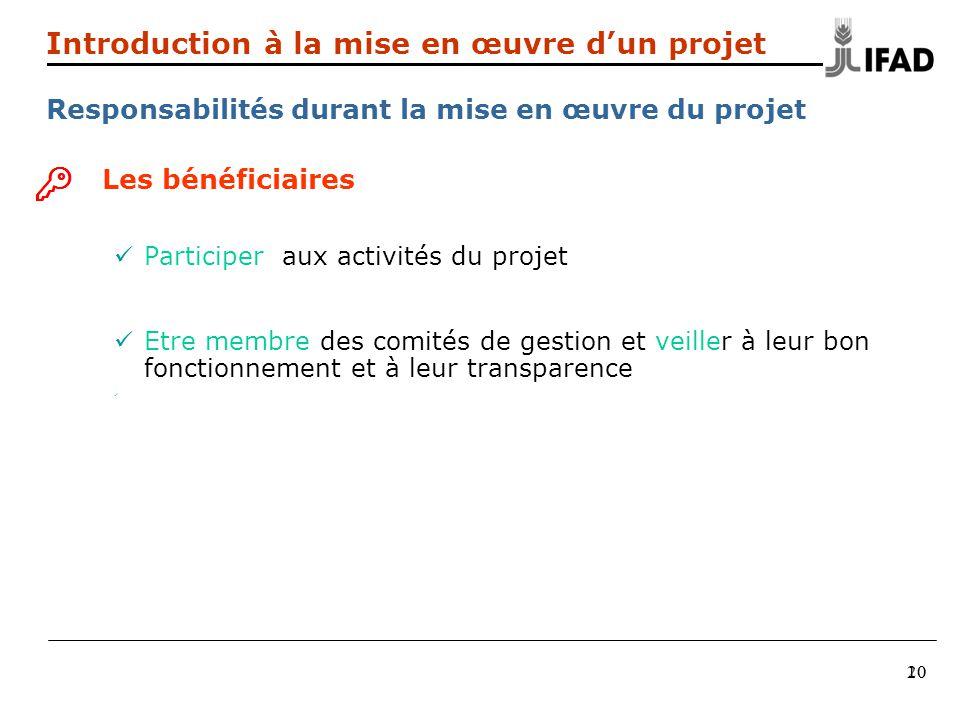 20 Introduction à la mise en œuvre dun projet Responsabilités durant la mise en œuvre du projet Les bénéficiaires Participer aux activités du projet E