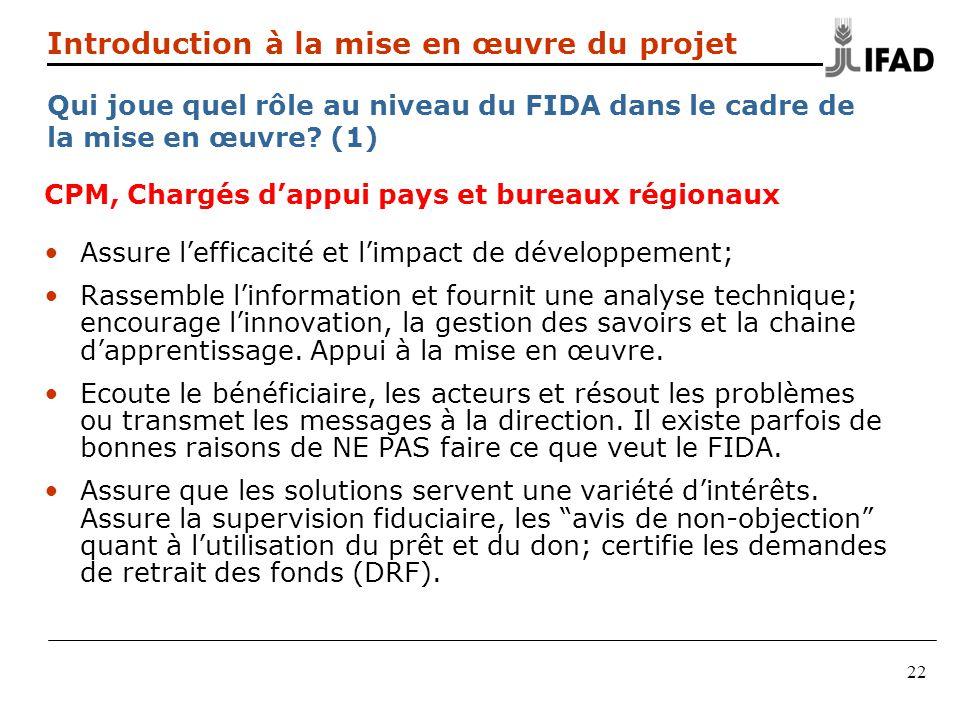 22 Introduction à la mise en œuvre du projet Qui joue quel rôle au niveau du FIDA dans le cadre de la mise en œuvre? (1) CPM, Chargés dappui pays et b