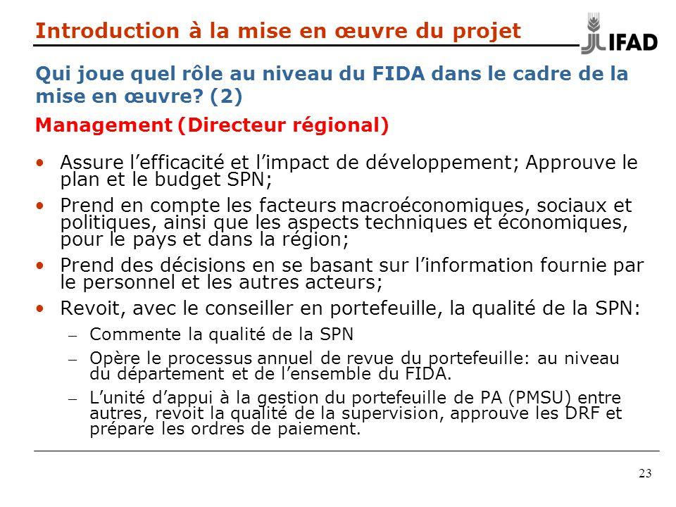 23 Introduction à la mise en œuvre du projet Qui joue quel rôle au niveau du FIDA dans le cadre de la mise en œuvre? (2) Management (Directeur régiona