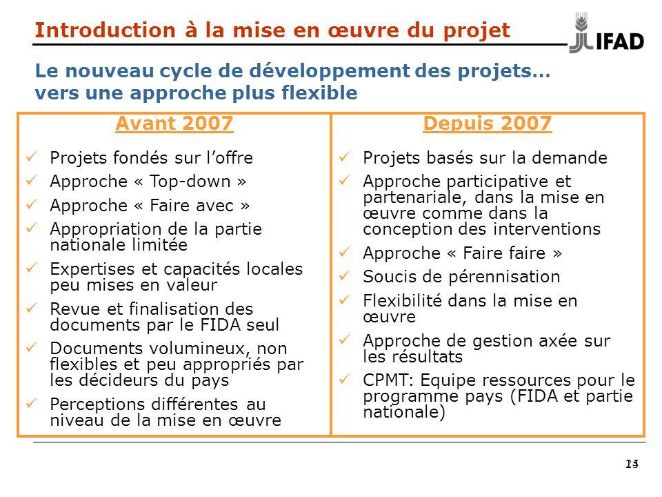 25 Introduction à la mise en œuvre du projet Le nouveau cycle de développement des projets… vers une approche plus flexible Avant 2007 Projets fondés