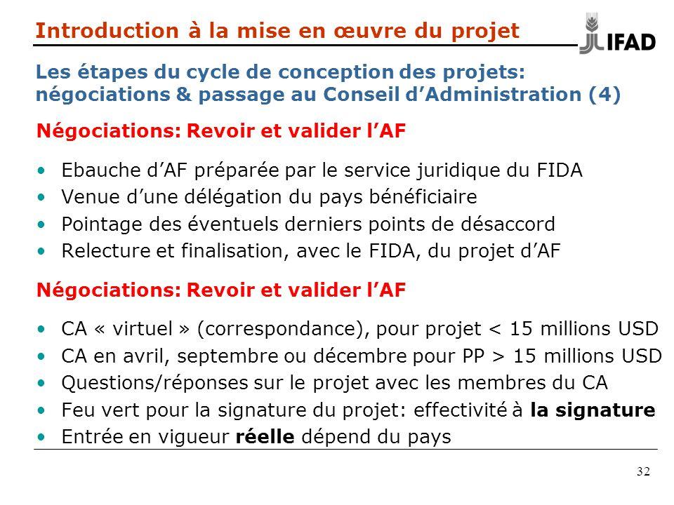 32 Négociations: Revoir et valider lAF Ebauche dAF préparée par le service juridique du FIDA Venue dune délégation du pays bénéficiaire Pointage des é
