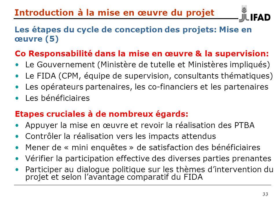 33 Co Responsabilité dans la mise en œuvre & la supervision: Le Gouvernement (Ministère de tutelle et Ministères impliqués) Le FIDA (CPM, équipe de su
