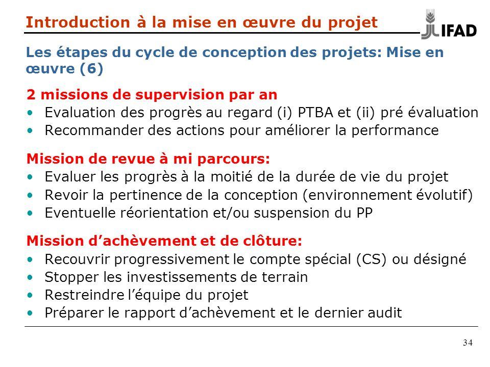 34 2 missions de supervision par an Evaluation des progrès au regard (i) PTBA et (ii) pré évaluation Recommander des actions pour améliorer la perform