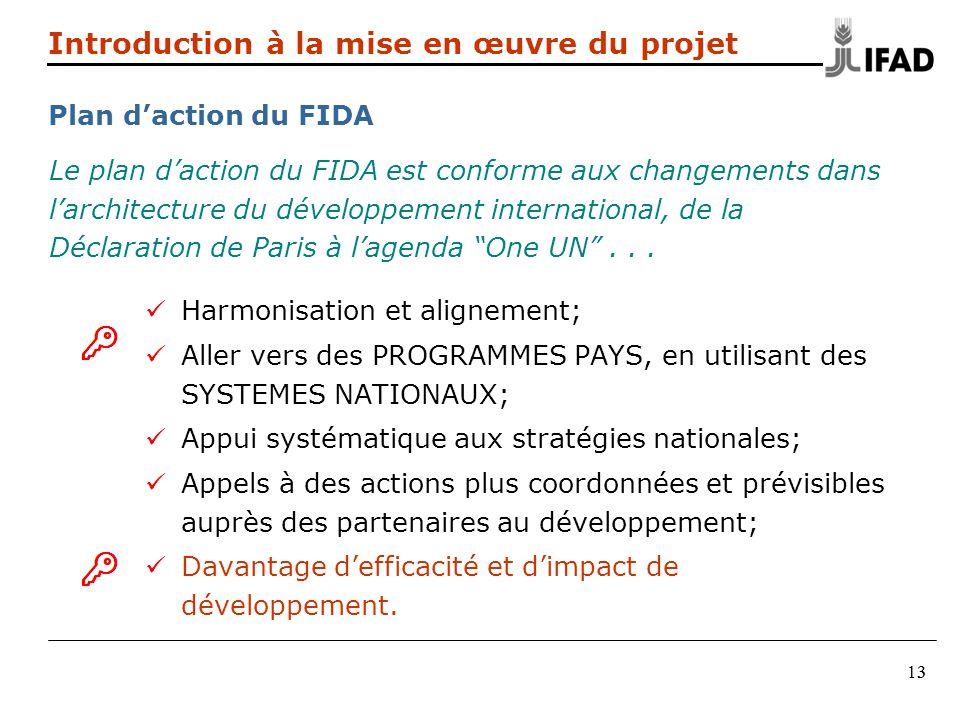 313 Le plan daction du FIDA est conforme aux changements dans larchitecture du développement international, de la Déclaration de Paris à lagenda One U